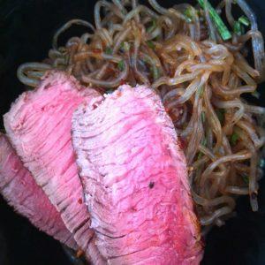 Grass-Fed Sirloin with Kelp Noodle Stir-Fry | stephgaudreau.com