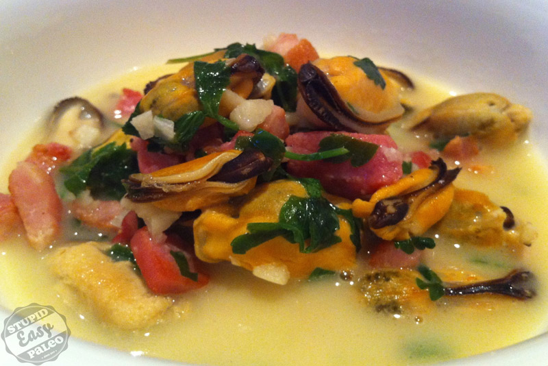 Mussels with Bacon in Lemon-Coconut Broth | stupideasypaleo.com