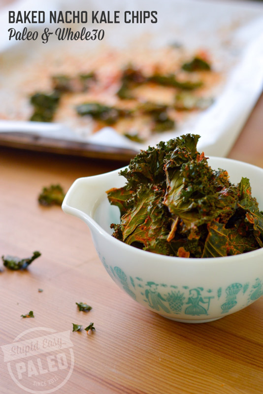 Super tasty Nacho Kale Chips recipe is baked, not fried, and Paleo-friendly! | StupidEasyPaleo.com