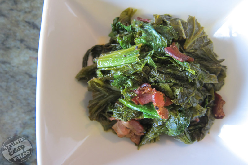 Braised Mustard Greens with Bacon | stephgaudreau.com