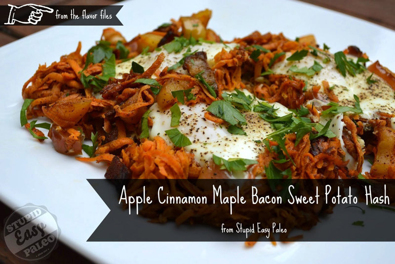 Apple Cinnamon Maple Bacon Sweet Potato Hash |stupideasypaleo.com