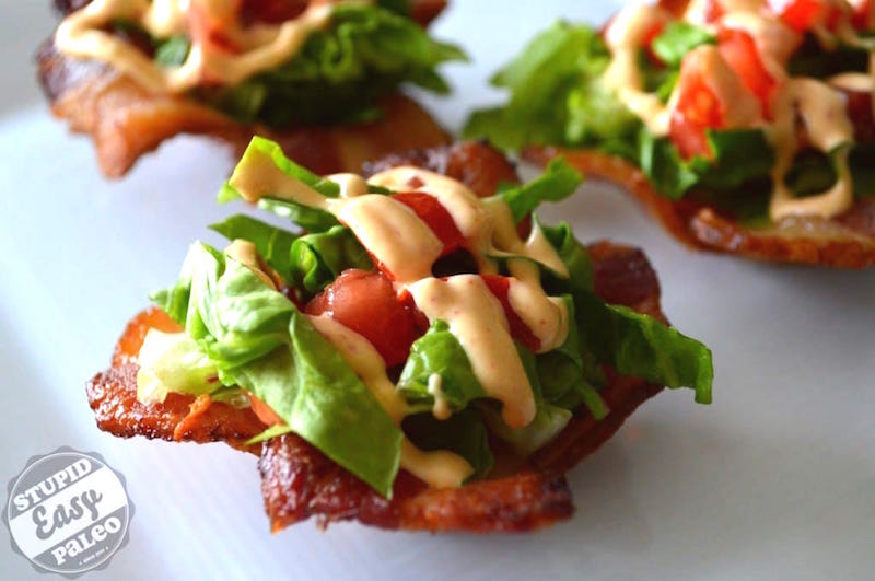 BLT Bites with Chipotle Mayo recipe are perfect for party snacks or a weekend treat. All the flavors of your favorite without the gluten! | StupidEasyPaleo.com