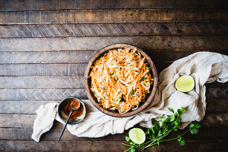 Make this Carrot Jicama Salad for your next summer dinner. It's crunchy, refreshing, and tangy with a kick from ground chipotle pepper!   StupidEasyPaleo.com