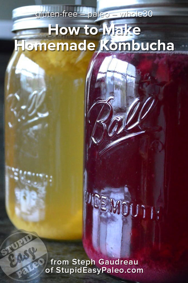Making homemade kombucha is simple and money-saving! Click this tutorial to see the process from start to finish and you'll be on your way! | StupidEasyPaleo.com