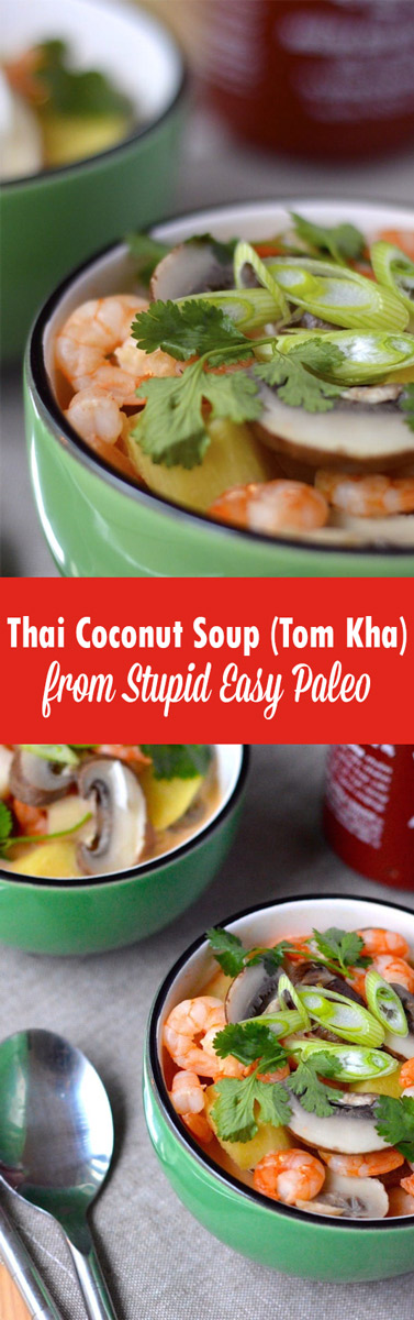 Make this Thai Coconut Soup (Tom Kha) recipe for a quick, tasty, nutritious lunch that comes together in just minutes! Paleo and dairy-free! | StupidEasyPaleo.com
