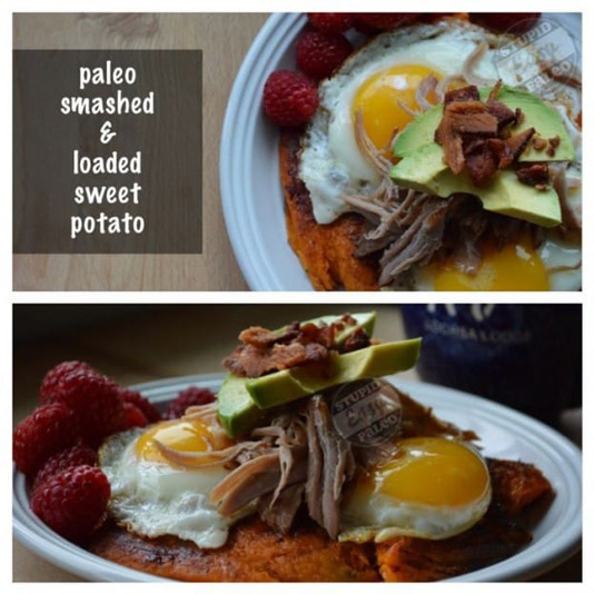 This Loaded Sweet Potato will satisfy your cravings, but it's healthy, too. Topped with smoky pulled pork, creamy avocado & farm fresh eggs. | StupidEasyPaleo.com