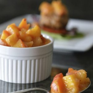 Peach Mango Chutney is the perfect topping to any pork dish. It's sweet, tangy, and a little spicy. Gluten-free, paleo, and plant-based. | StupidEasyPaleo.com