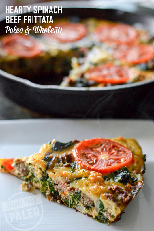 This Hearty Spinach Beef Frittata will satisfy even the biggest appetites! Make it in a cast iron skillet for a one-pan paleo meal. | StupidEasyPaleo.com