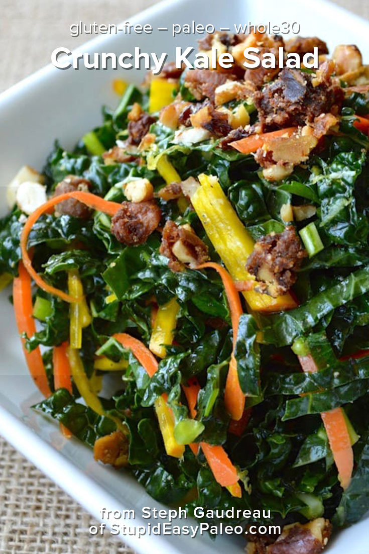 Make this Crunchy Kale Salad recipe to add more veggie punch to your meals! It's Paleo and Whole30 friendly, grain- and gluten-free! | StupidEasyPaleo.com