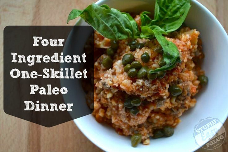 Make this ultra-simple and filling One Skillet Paleo Dinner recipe to stretch your time and your dollar. Whole30 friendly and so healthy! | StupidEasyPaleo.com