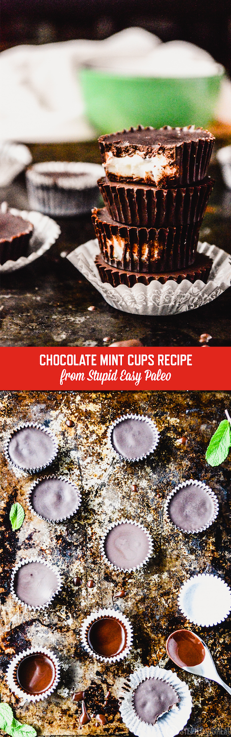 Dark Chocolate Mint Coconut Butter Cups are just like a peppermint patty but paleo-friendly! Makes the perfect homemade holiday gift.   StupidEasyPaleo.com