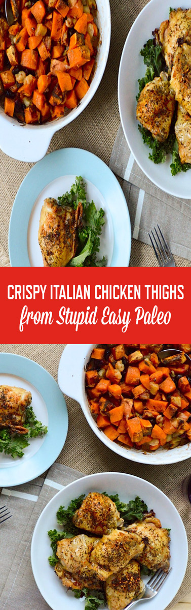 This Crispy Italian Chicken Thighs recipe is so simple and flavorful that you'll want to make it every week! | Stupideasypaleo.com