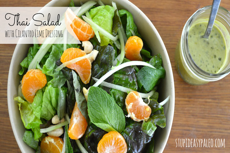 This Thai Salad with Cilantro Lime Dressing recipe is totally fresh and a way to get in more veggies! Paleo and Whole30 friendly!   stephgaudreau.com