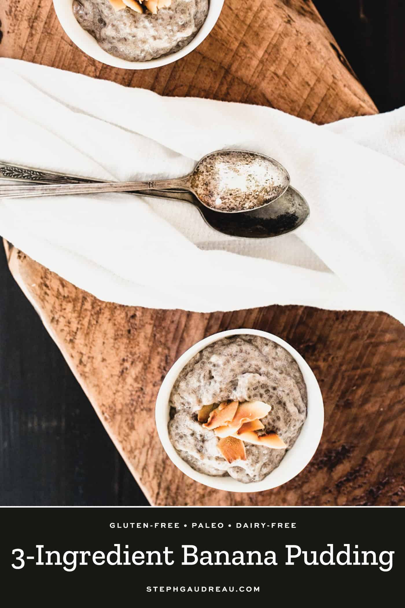 chia pudding made with banana and topped with coconut flakes in small white bowl