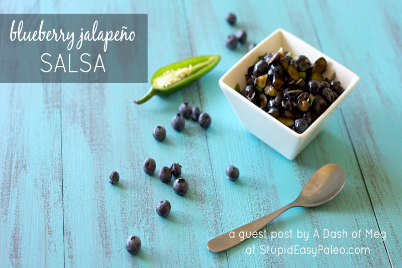 Sweet and spicy Blueberry Jalapeño Salsa is incredibly simple to make and bursting with flavor! | StupidEasyPaleo.com