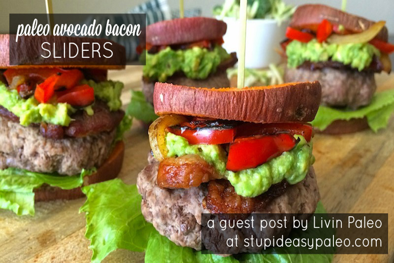 This Paleo Avocado Bacon Sliders recipe will rekindle your love of burgers! Creamy avocado and crisp bacon make them special and flavorful! | StupidEasyPaleo.com