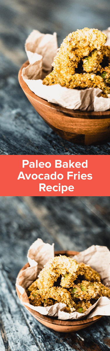 Make these paleo Baked Avocado Fries for a delicious gluten-free snack packed with healthy fats! They make the perfect game-day eats! | StupidEasyPaleo.com