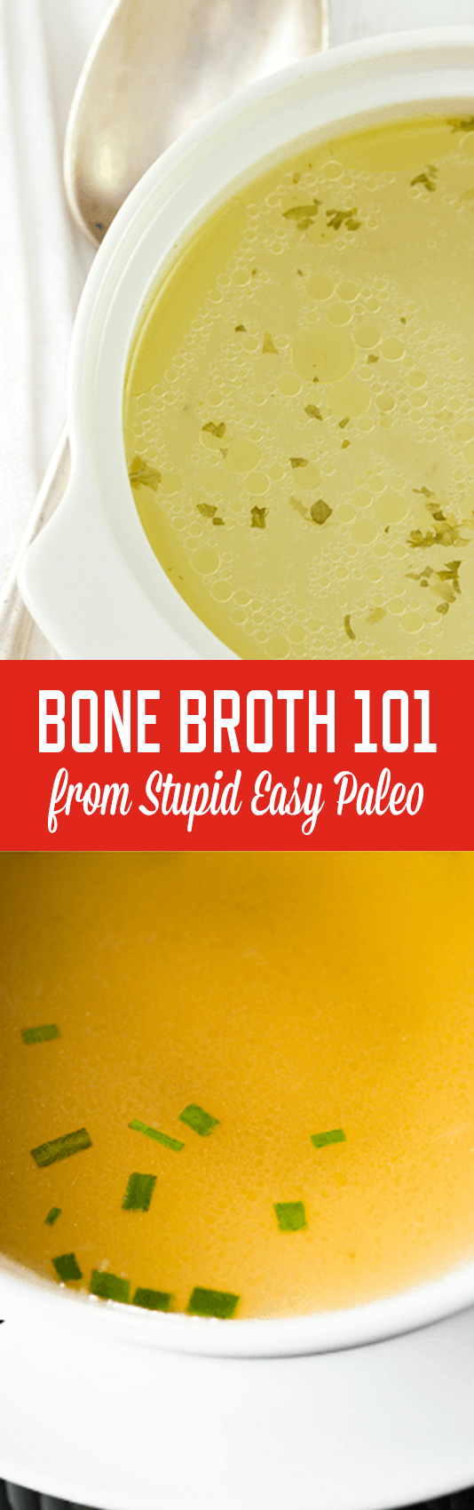 A tutorial for making the best bone broth, including a simple recipe. Click here to learn how to create excellent bone broth at home. | StupidEasyPaleo.com