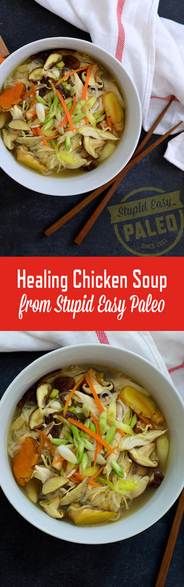 This Healing Chicken Soup recipe is infused with garlic, ginger and turmeric! Perfect for keeping the sniffles at bay! | StupidEasyPaleo.com
