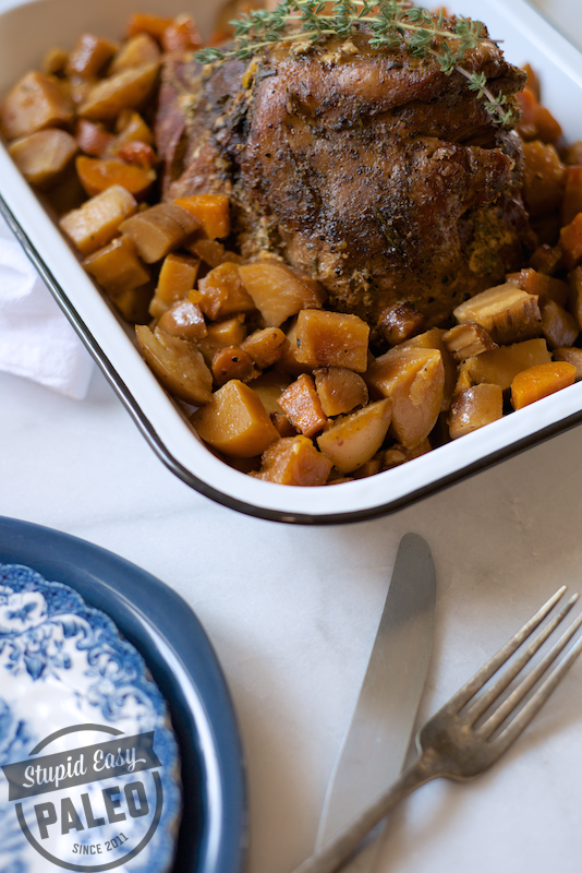 Paleo Slow Cooker Lamb Roast with Root Veggies