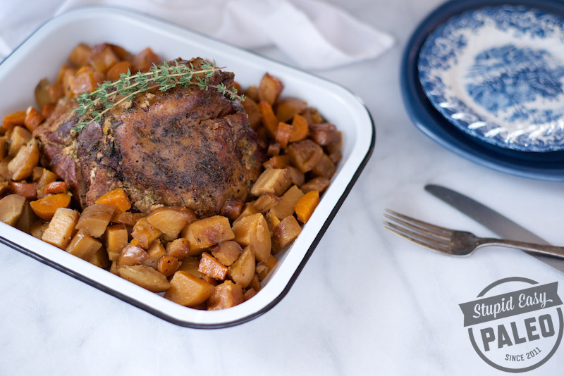 This Paleo Slow Cooker Lamb Roast Recipe has all the comforting flavors of fall, and it's made in the slow cooker which makes it super easy! | StupidEasyPaleo.com