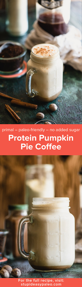 Protein Pumpkin Spice Coffee is like fall in a mug...it's protein-boosted, primal, paleo-friendly and has no added sugar. So easy to make! | StupidEasyPaleo.com