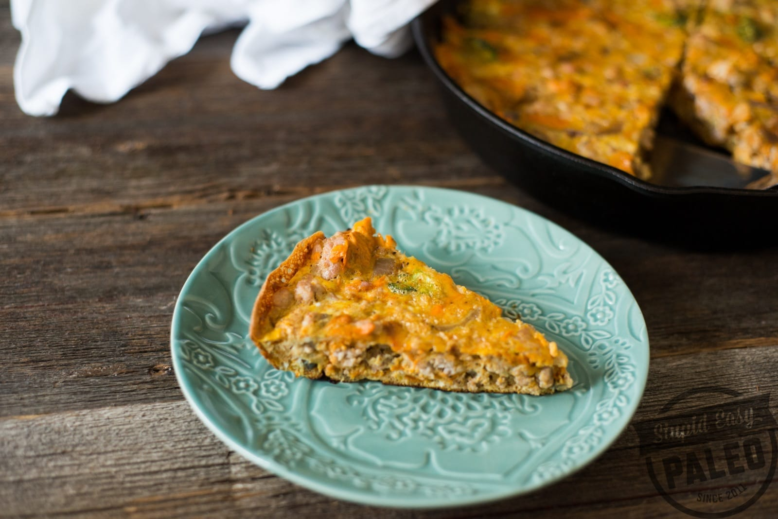 Paleo Chicken Sweet Potato Frittata is one of my favorite post-workout foods because it's 1) packed with protein and 2) totally portable. In fact, it's totally representative of the tasty post-workout bites in my upcoming cookbook, The Performance Paleo Cookbook! (It comes out in just a little over a month, and it's still on pre-order for 25 off!) | StupidEasyPaleo.com
