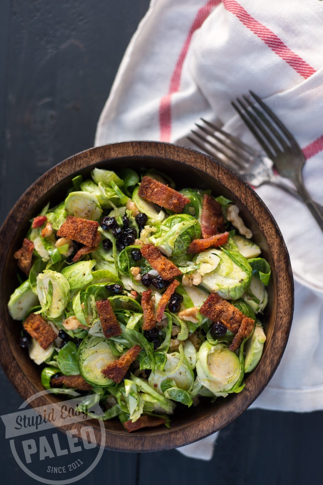 This Paleo Brussels Sprouts, Blueberry & Bacon Salad has crisp Brussels, sweet blueberries, savory bacon and tangy lemon tarragon dressing. | StupidEasyPaleo.com