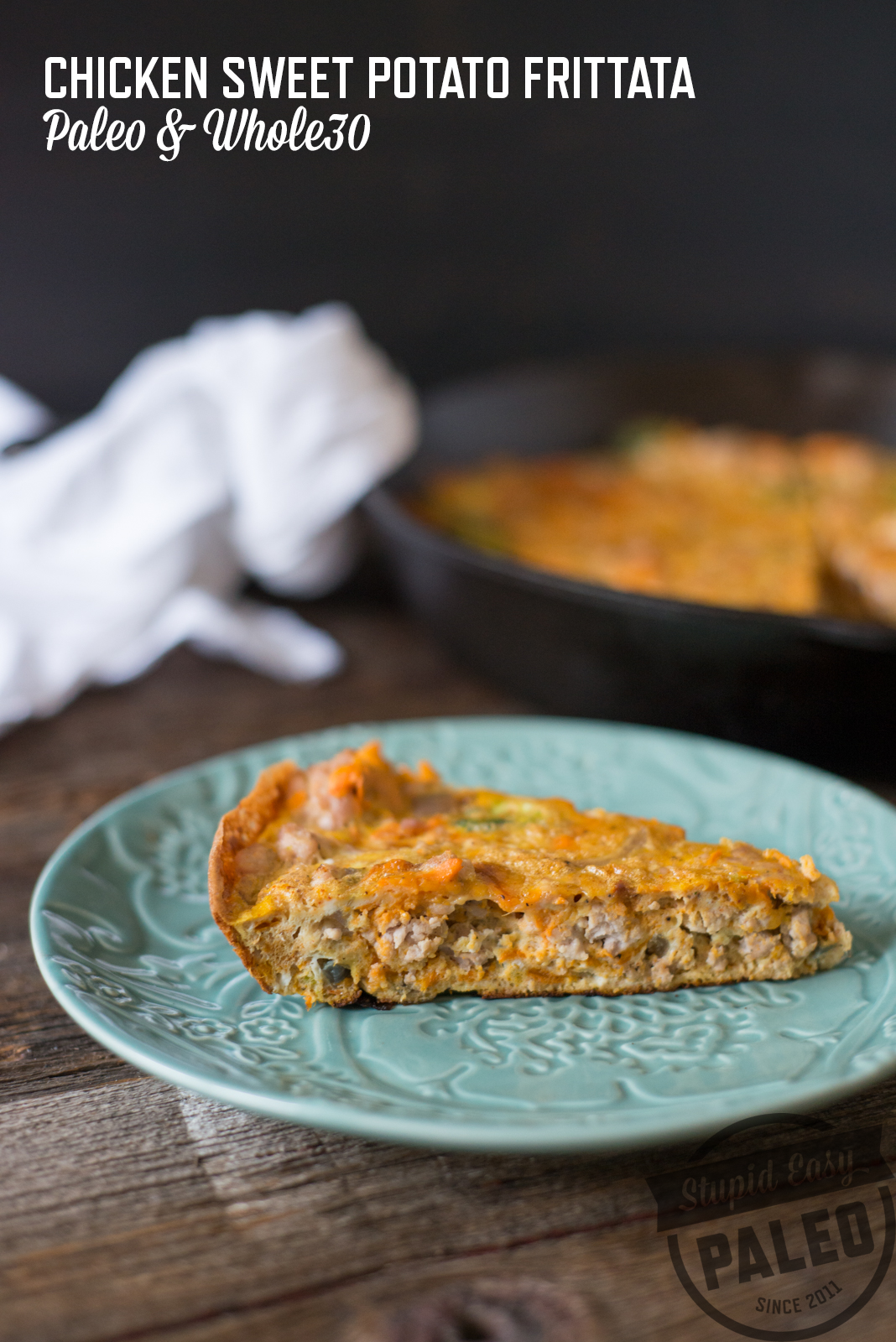 Paleo Chicken Sweet Potato Frittata is one of my favorite post-workout foods because it's 1) packed with protein and 2) totally portable. In fact, it's totally representative of the tasty post-workout bites in my upcoming cookbook, The Performance Paleo Cookbook! (It comes out in just a little over a month, and it's still on pre-order for 25 off!)   StupidEasyPaleo.com