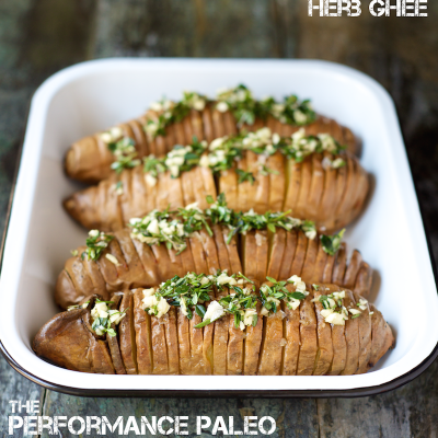 Hasselback Sweet Potatoes with Compound Herb Ghee Recipe | stephgaudreau.com