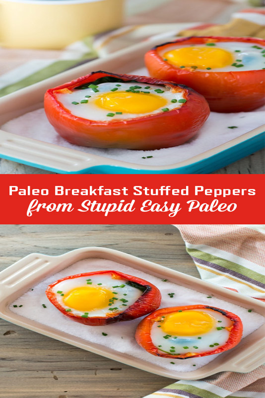 Makes these Breakfast Stuffed Peppers recipe for a delicious way to start your day! Paleo and Whole30-friendly! | StupidEasyPaleo.com