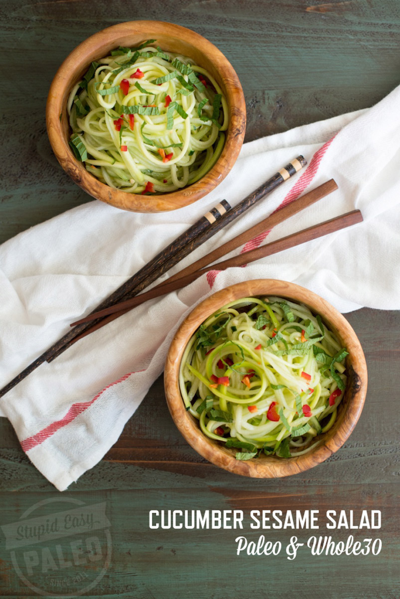 Get this light and fresh Cucumber Sesame Salad Recipe! It's perfect for warmer weather. Paleo and Whole30 friendly! | StupidEasyPaleo.com
