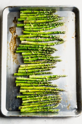 baking sheet with roasted asparagus