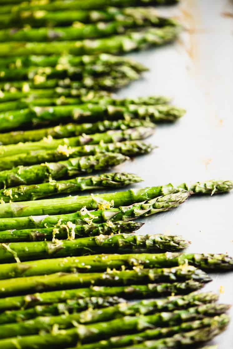 close up of oven roasted asparagus