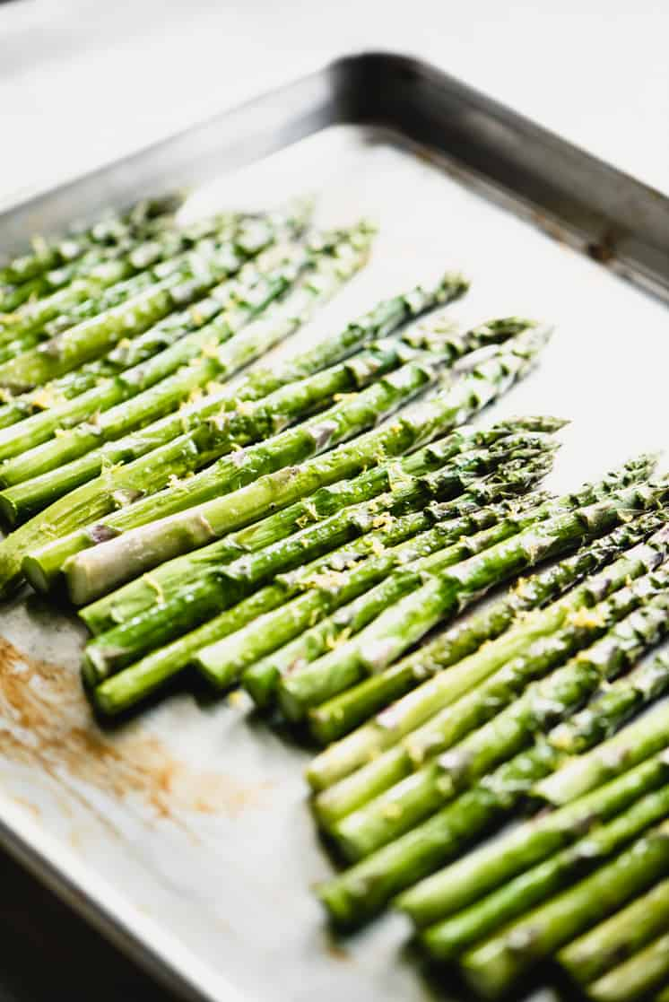 asparagus roasted in the oven with lemon zest