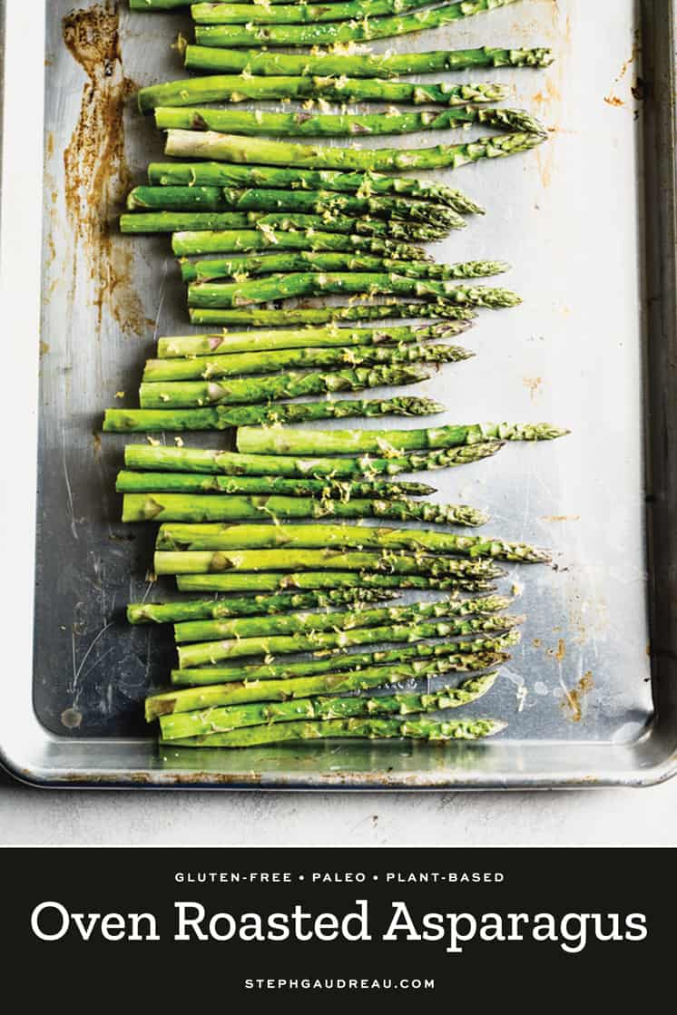 pan of oven roasted asparagus