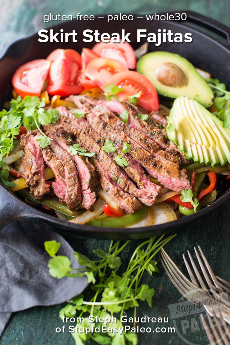 Make this Skirt Steak Fajitas recipe from the One-Pot Paleo Cookbook. They taste better than restaurant fajitas, and they're super healthy. These steak fajitas are paleo, gluten-free, and whole30 friendly. Plus they're easy and delicious! | StupidEasyPaleo.com