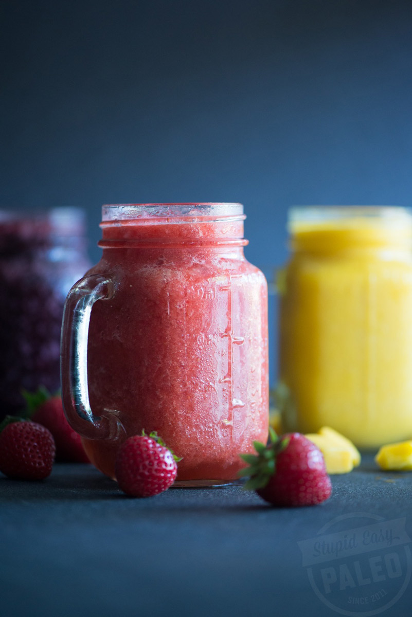 Make this frosty Kombucha Slushie recipe packed with frozen fruit and probiotic-rich kombucha tea for a healthy way to beat the summer heat! | StupidEasyPaleo.com
