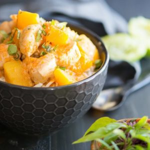 Get the recipe for a simple Chicken Pumpkin Thai Curry that's gluten-free, paleo and whole30-friendly. It's flavorful, warming and filling. Makes a healthy, quick weeknight dinner that will fill you up but not weigh you down. | StupidEasyPaleo.com