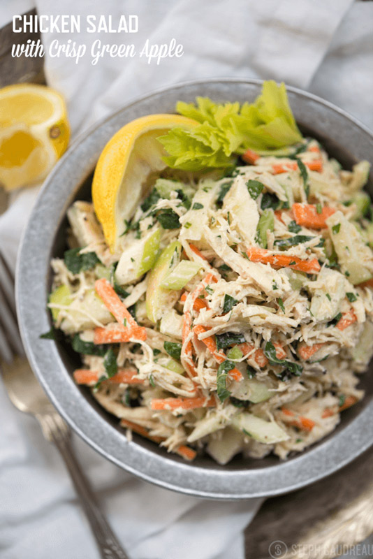 I make this Chicken Salad with Green Apple on a weekly basis, and it's one of my favorite quick but filling and satisfying lunches. Make it today! | StupidEasyPaleo.com