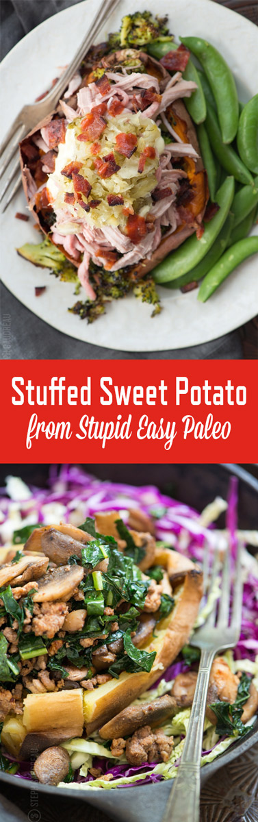 Learn the 3-steps to mastering the perfect Stuffed Sweet Potato! Makes a simple lunch or dinner, and the flavor combinations are endless! | StupidEasyPaleo.com