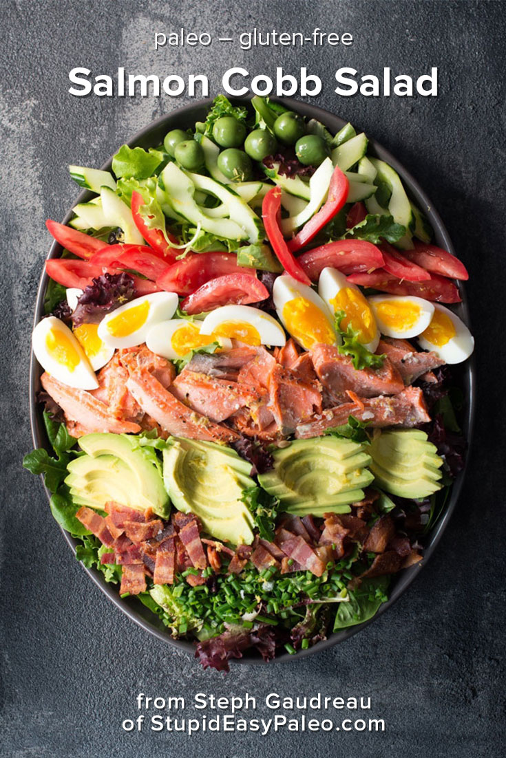 Salmon Cobb Salad is a twist on this American classic made with wild-caught salmon and a vibrant combination of veggies and toppings.   StupidEasyPaleo.com