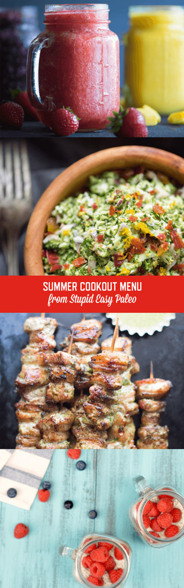 This Summer Cookout menu is packed with paleo recipes that'll please a crowd. From drinks to treats & everything in between, you're covered. | StupidEasyPaleo.com