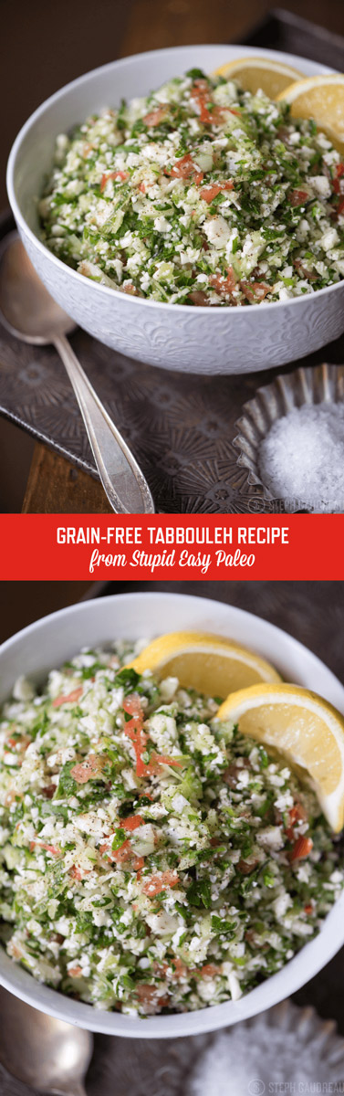 This Grain-Free Tabbouleh Recipe is perfect as a summery side dish or to bring to a cookout! It's chock full of healthy veggies! | StupidEasyPaleo.com