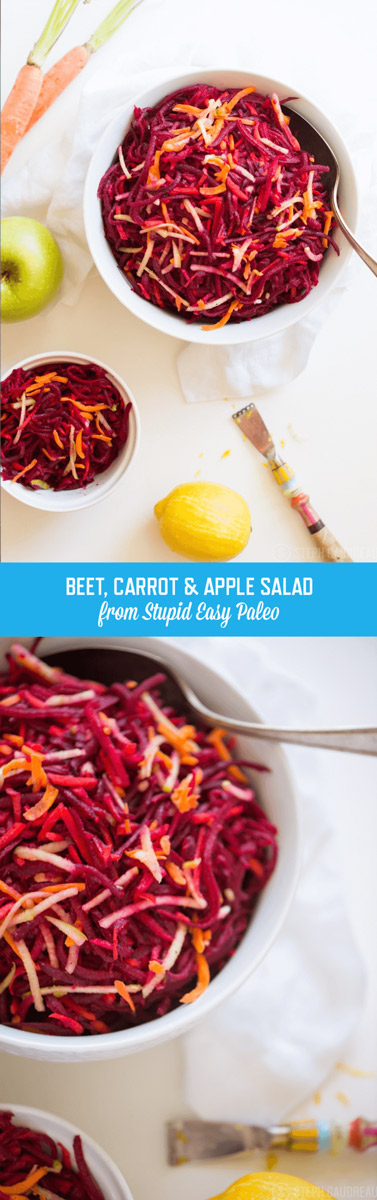 Beet, Carrot & Apple Salad will make your tastebuds dance with flavor. The sweet carrot & apple balance out the earthy beets. Simply tasty! | StupidEasyPaleo.com