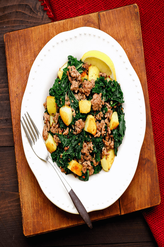 Greens with Potatoes & Sausage | StupidEasyPaleo.com