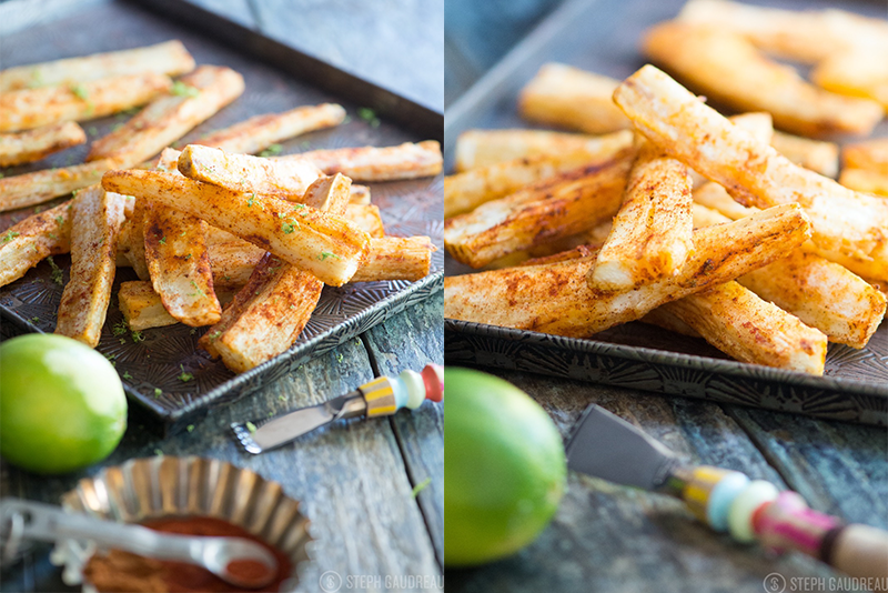 These Spicy Yuca Fries are a delicious alternative to potato and cook up crunchy on the outside while staying tender on the inside. | StupidEasyPaleo.com