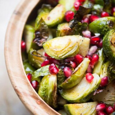 Roasted Brussels Sprouts with Pomegranate | StupidEasyPaleo.com