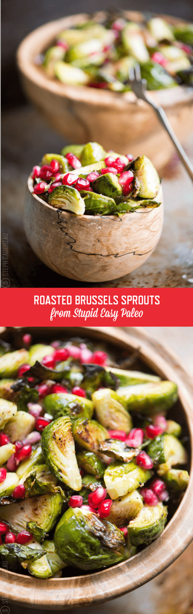 Make this Roasted Brussels Sprouts with Pomegranate for a fancy-looking (and healthy) but oh-so-simple addition to any paleo fall menu. | StupidEasyPaleo.com
