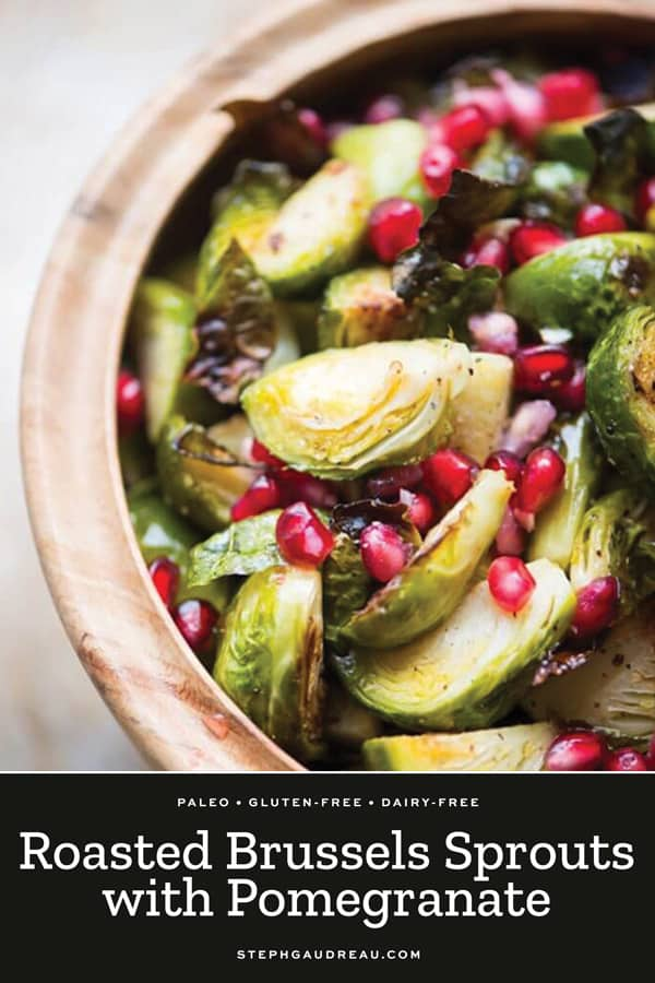 brussels sprouts in a bowl with pomegranate